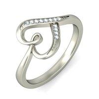 Designer Heart Shape Silver Rings