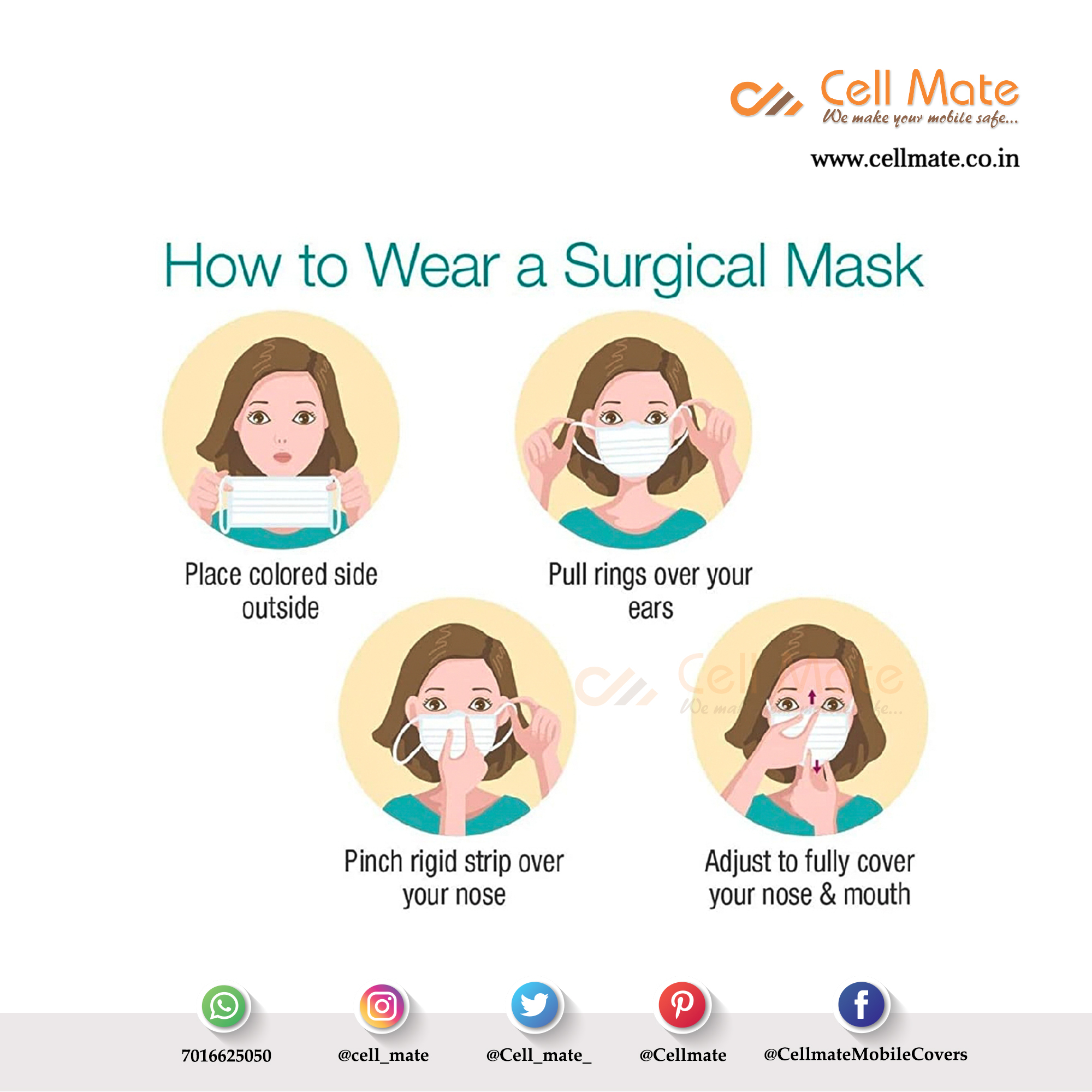 Cellmate 3 Ply Surgical Disposable Face Mask (Pack Of 20)