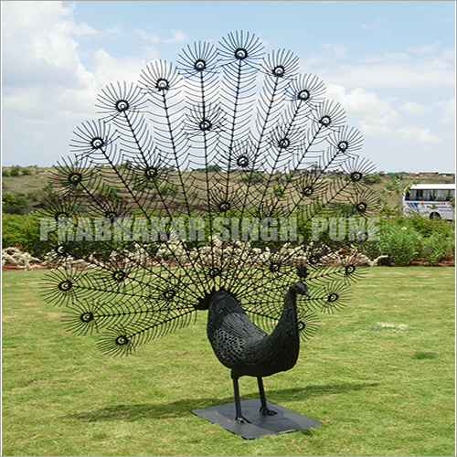 7 Foot Welded Iron Peacock Sculpture With Black Epoxy