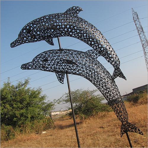 7 Foot Welded Iron Dolphin Sculpture