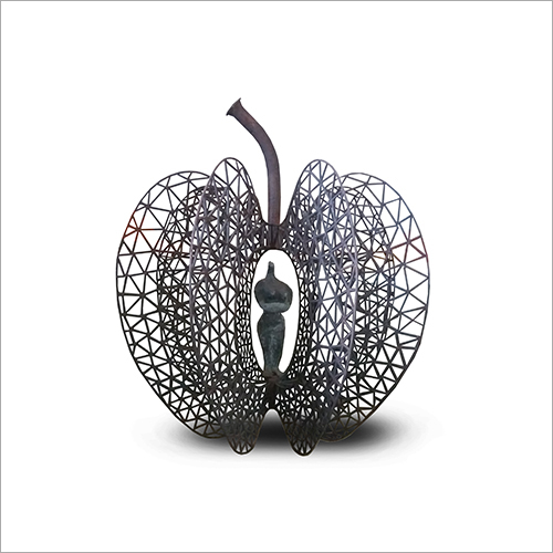 4 Foot Apple FRP And Iron Sculpture