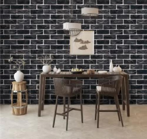 BLACK BRICK WALL PAPER