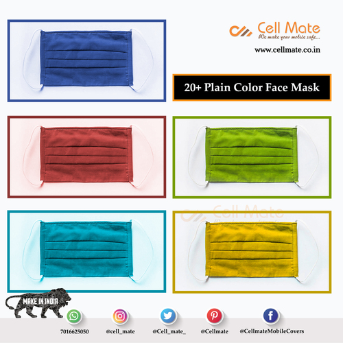 Cellmate Cotton Washable Fashionable Non Surgical 20+ Plain Color Face Mask