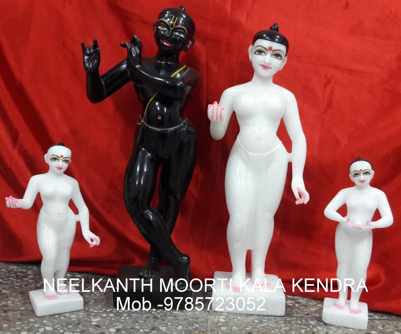 Marble Statue Radha Krishna With Lalita Vishaka