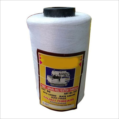 10000 Meter White Plain Polyester Sewing Thread Cone