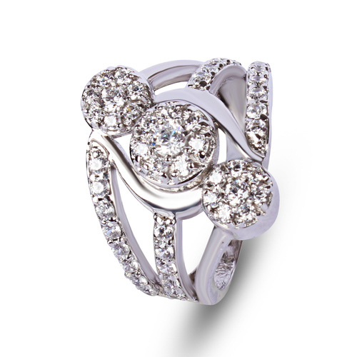 Studded Cubic Zirconia Silver Ring