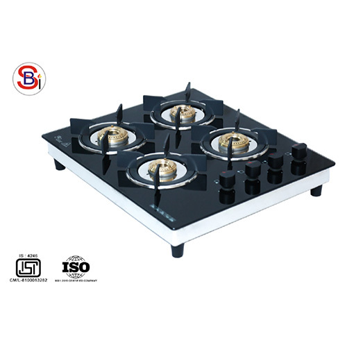 SS Four Burner Gas Stove With Glass Top