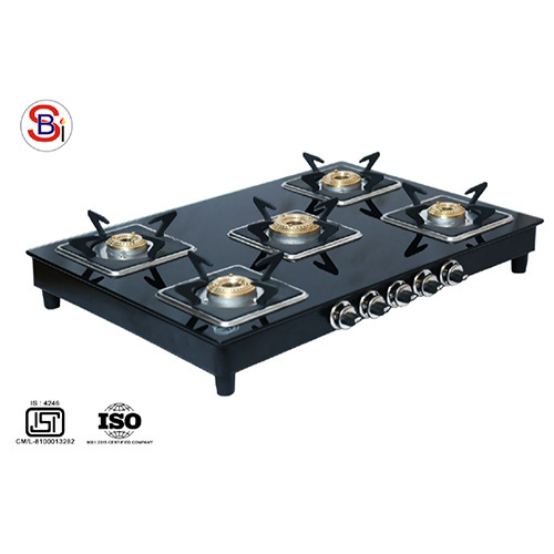 Five Burner Gas Stove With Glass Top