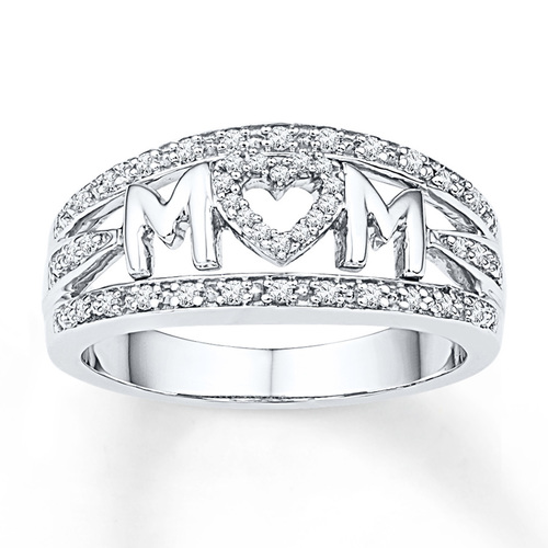 Silver Mom Engraved Ring