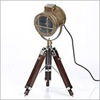 NAUTICALMART Industrial Vintage Brass Finish Tripod Table LAMP