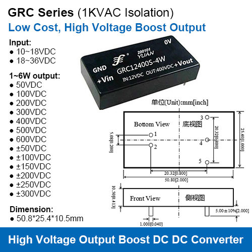 Grc Series Low Cost High Voltage Output Isolated Boost Dc Dc Converter Power Modules