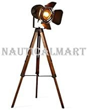 Vintage Tripod Floor Desk Lamp,Nautical Theatre Retro Spotlight,Industrial Decor Wooden Light Fixtures,Cinema Movie Props,(Without Edison Light Bulbs)