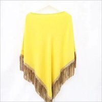 Cashmere Knitted Poncho WIth Leather Suede Tussle or Fringes Poncho , SIze-Free