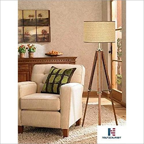 Lighting Tripod Light Floor Lamp, Walnut Finish with Beige Fabric Shade