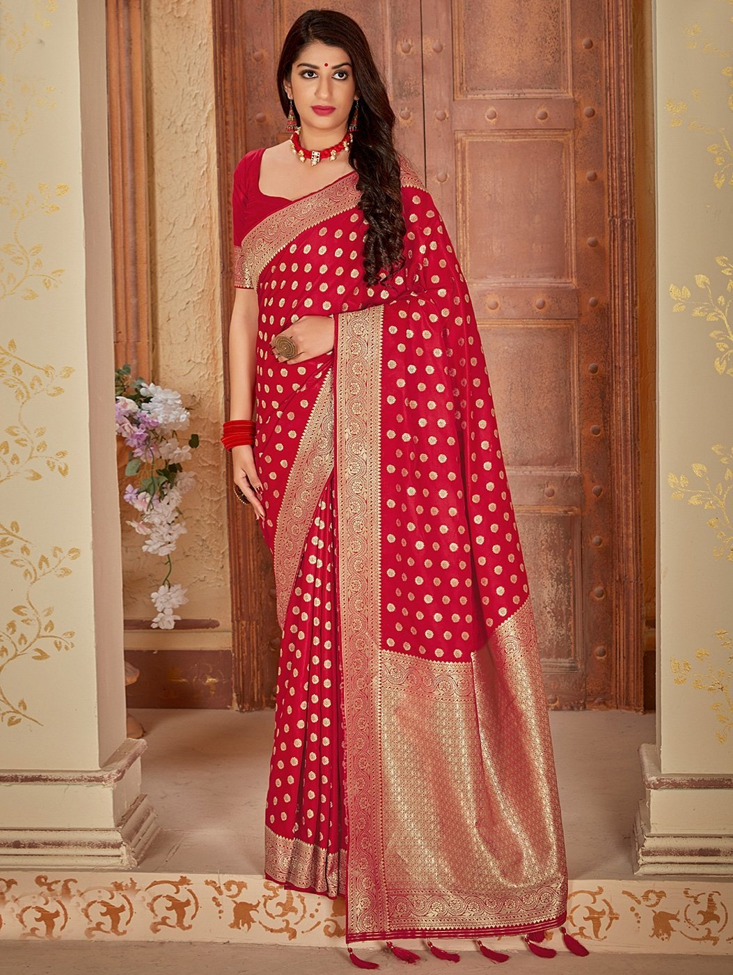 Red  jaquard Silk Traditional Woven Saree with Broad Border and Pallu