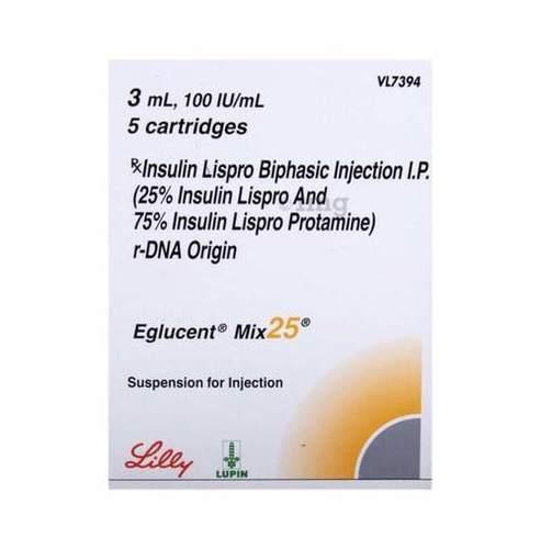 Eglucent Mix 25 Insulin Lispro (25%) + Insulin Lispro Protamine (75%) Injection