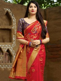 Red Traditional Woven Saree with Dull Gold Zari Border and Pallu