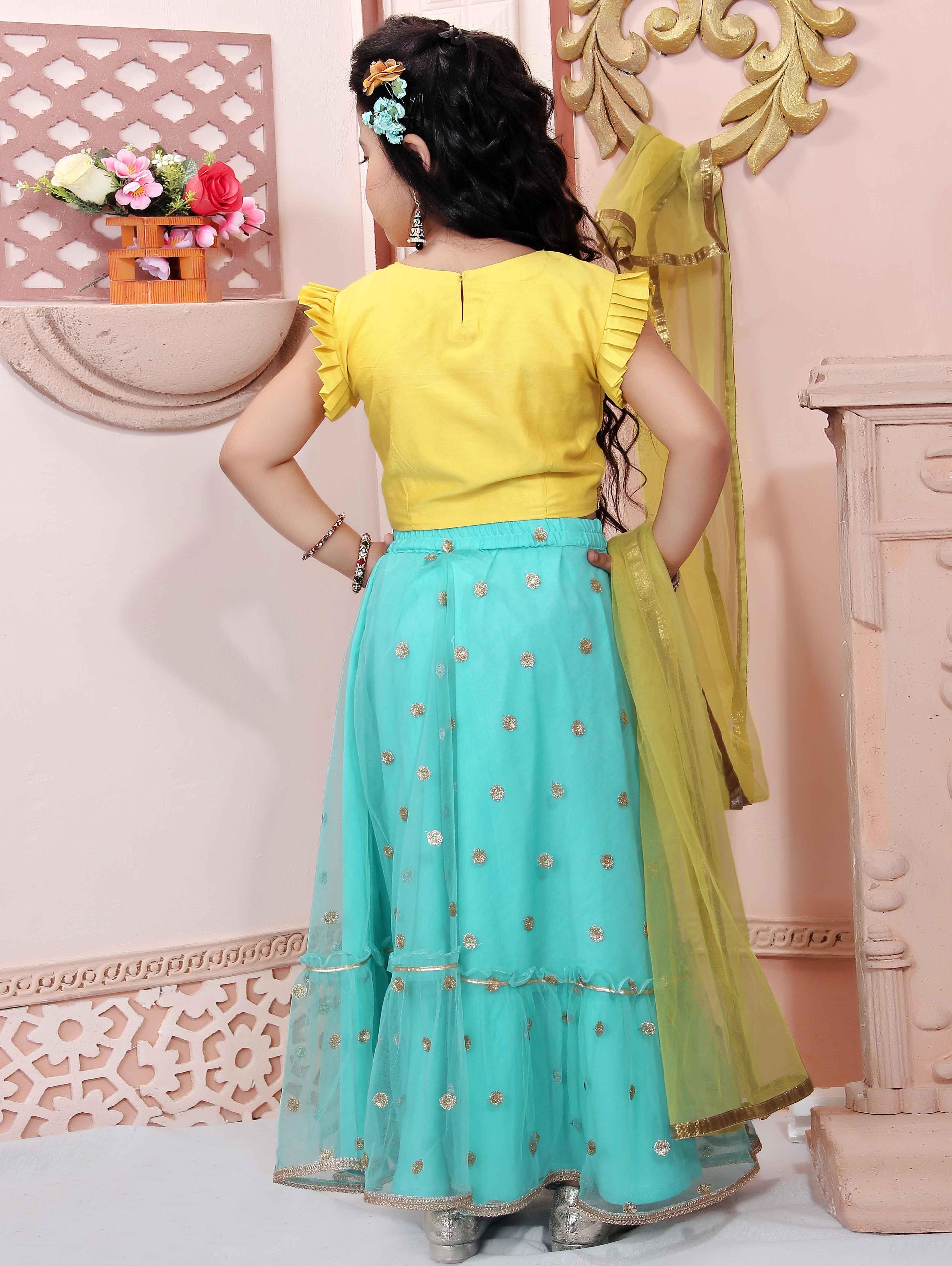 Blue Cotton Silk Lehenga Choli with Designer Sleeved Blouse