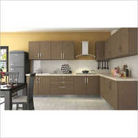 Wooden L Shape Modular Kitchen