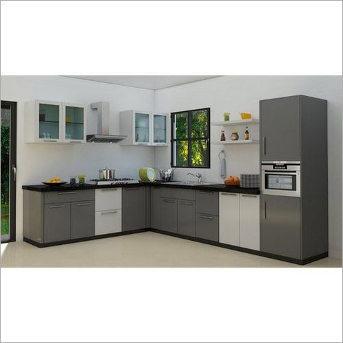 L Shape PVC Residential Modular Kitchen