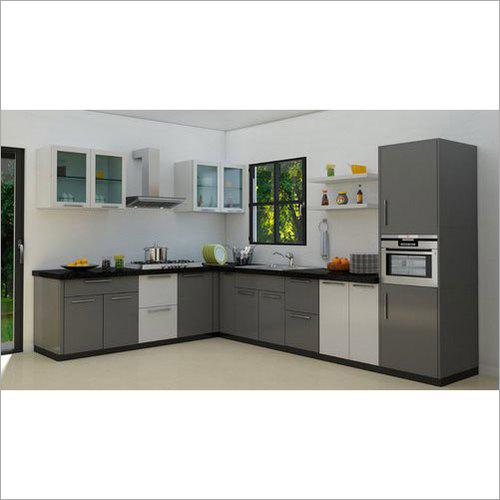 L Shape PVC Residential Modular Kitchen