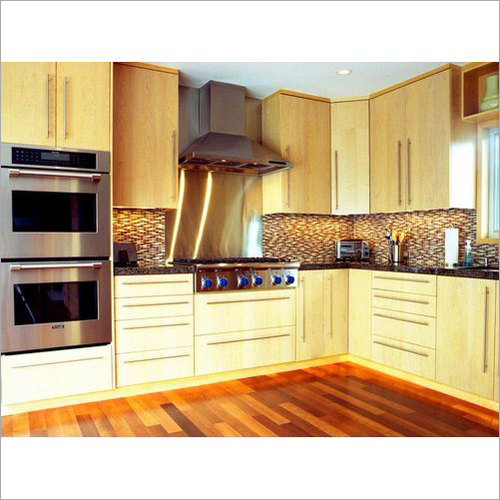L Shape Wooden Designer Modular Kitchen