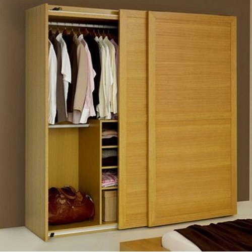 Oak Wood Polished Sliding Door Wooden Wardrobe