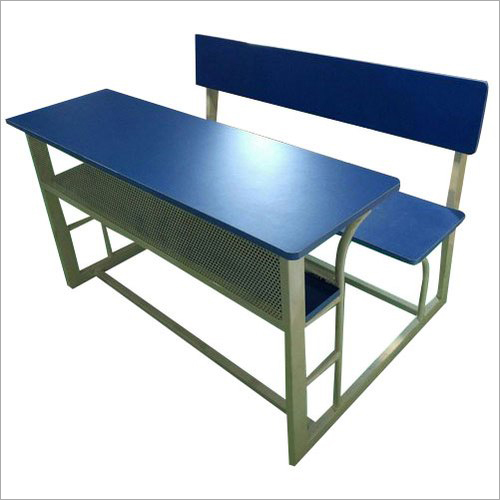 White And Blue 2 Kids Dual Desk Bench