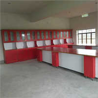 Red And White Wood Wooden Laboratory Bench