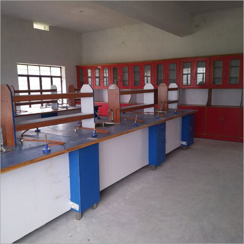 White And Blue Wood School Laboratory Bench
