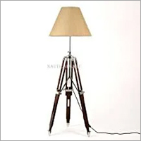 Nauticalmart Dark Brown Wooden Tripod Floor Lamp