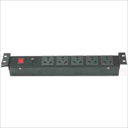 19 Inch Horizontal 5 Socket Indian Round Pin 5-15 Amp Power Distribution Unit