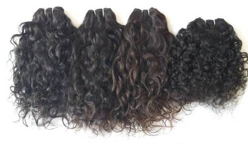 Double Machine Weft Natural Curly Hair Extensions