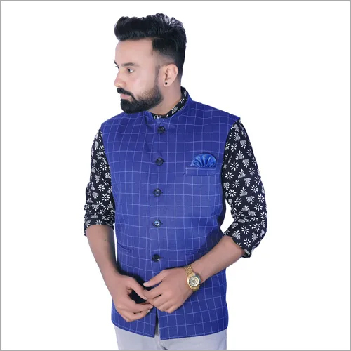 Mens Blue Nehru Jacket