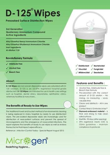 Microgen D-125 Cleaner wipes