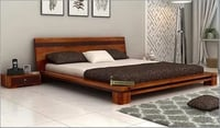 Melisandre Low Floor Double Wooden Bed