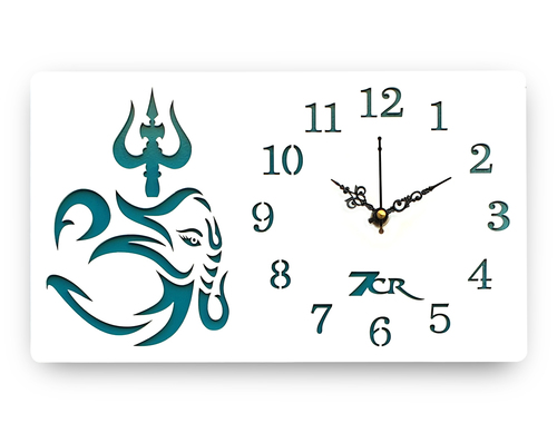 White Trishul Wall Clock
