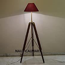Classic Brown Tripod Floor Lamp in Mango Wood