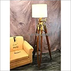 Royal Marine Lamp Huge Tripod Floor Lamp Antique Brass with Wooden Base