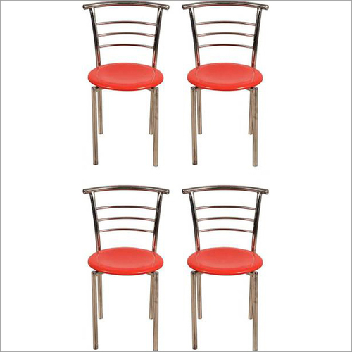 Red 4 Stainless Steel MCD Chairs