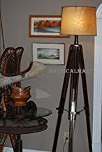 NAUTICALMART VINTAGE BRASS FINISH TRIPOD FLOOR LAMP FOR LIVING ROOM