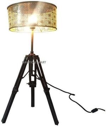 Designer Nautical Floor LAMP Tripod LAMP Vintage Look Metal Shade