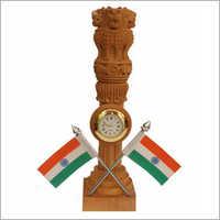 Wooden Table Top With Flag Pen Holder And Ashoka Pillar