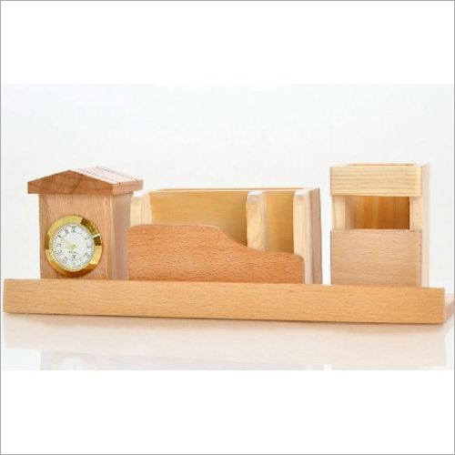 Wooden Table Top With Clock Pen Holde