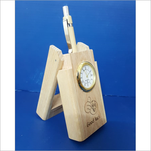 Wooden Pen Stand With Clock And Wooden Pen