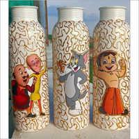 Meena Print Copper Bottle