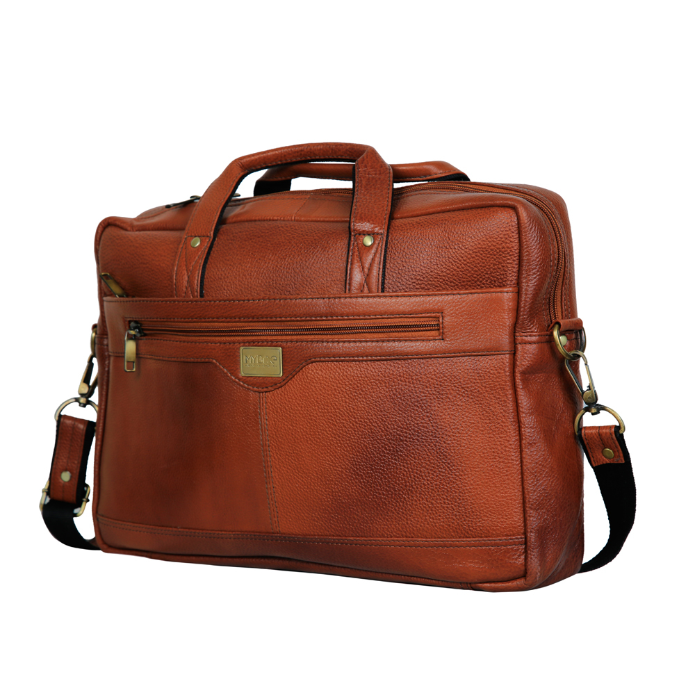 MYBAE Brown leather Laptop Bag