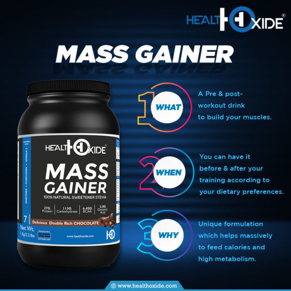 HealthOxide Mass Weight Gainer Powder With  Natural Sweetener Stevia