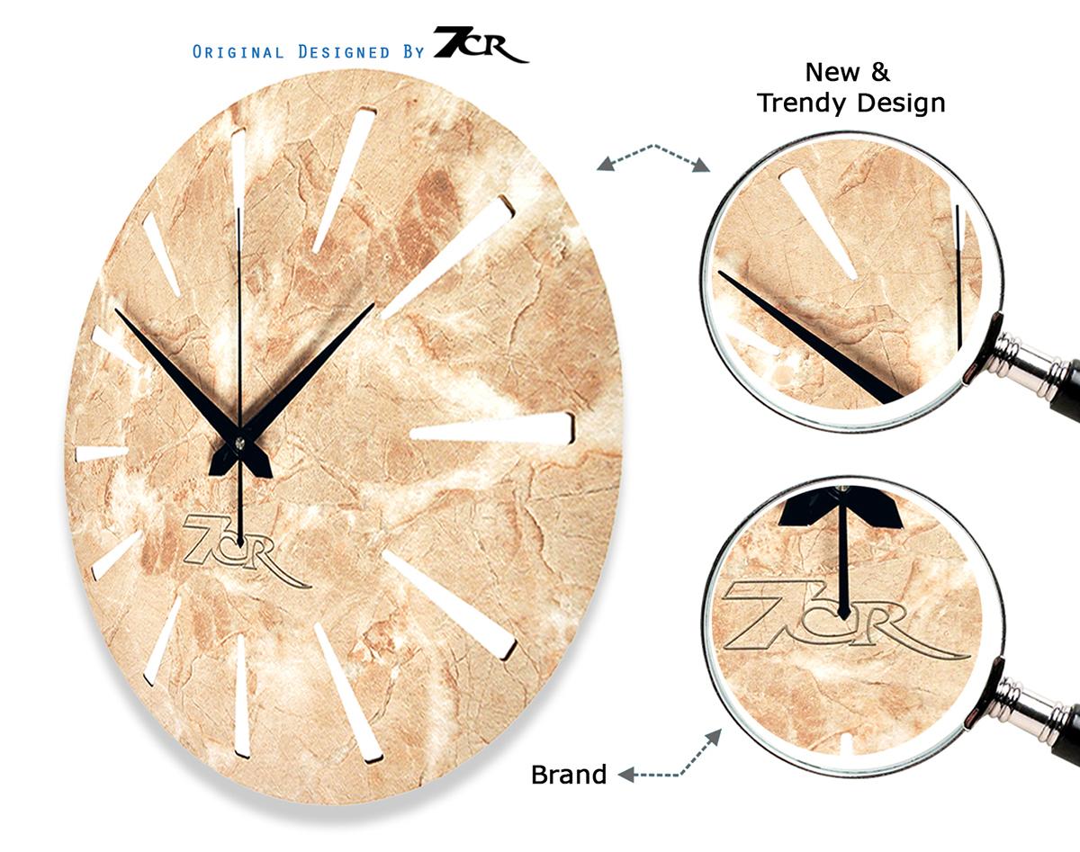 Marble Wood Wall Clock