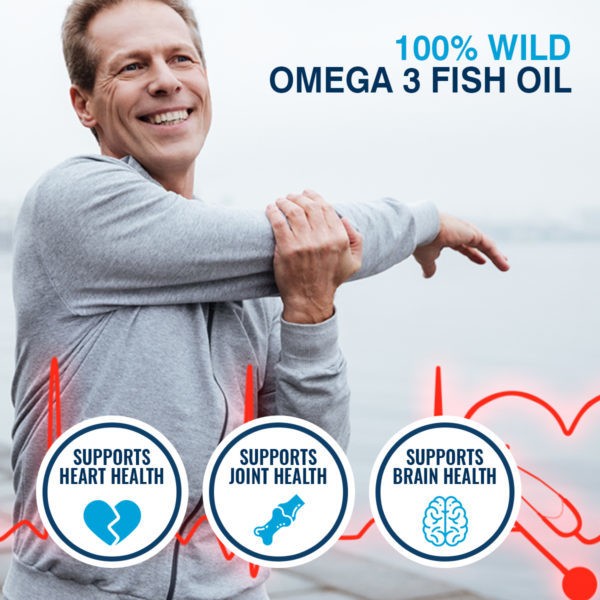 Omega 3 Fish Oil 1000 mg for brain, heart and eye health, 60 softgels